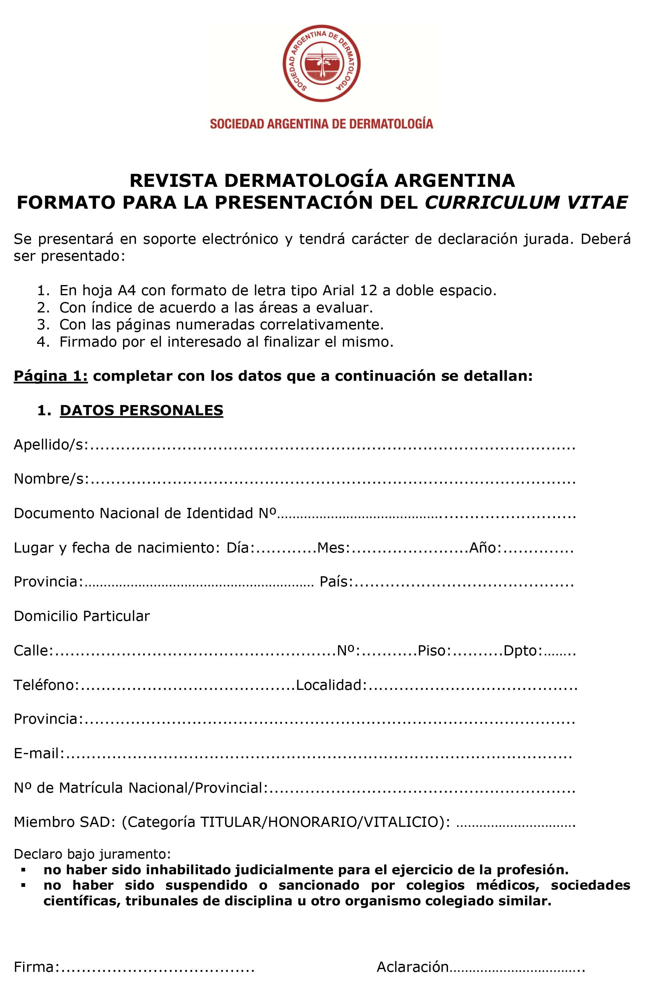 Formato para la presentación del CV pág. 1