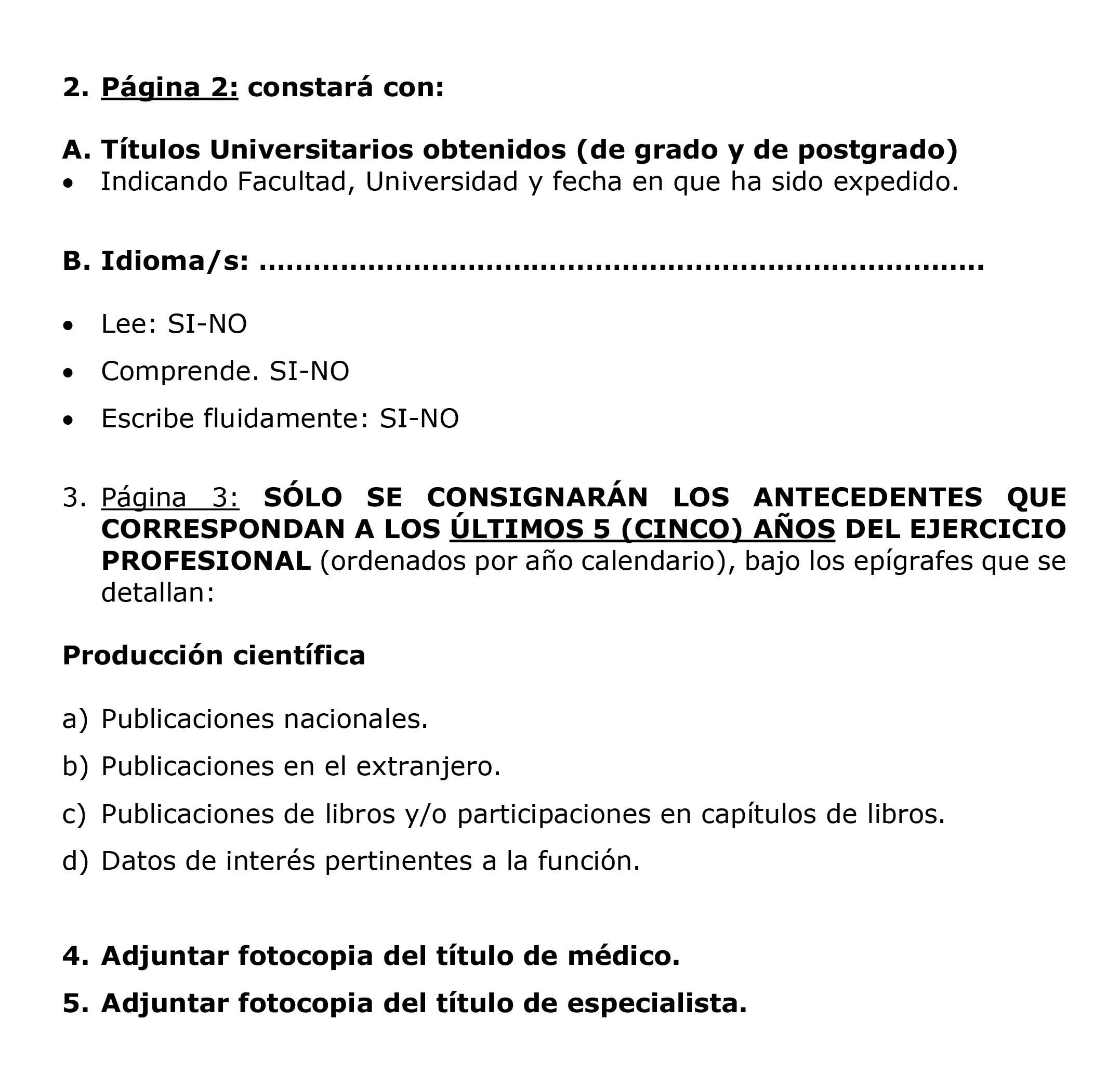 Formato para la presentación del CV pág. 2